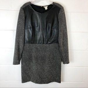 Club Monaco Black Gray Tweed Leather Sheath Dress